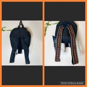Steve Madden Denim Tassel Embroidered Backpack